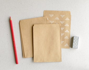 "50 Extra Small Brown Bags / Envelopes - Blank on both sides - Made of recycled Kraft paper - (3 3/4""x5"")"