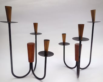 Vintage Candle Holders Mid Century Modern Danish