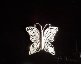 Handmade Fine and Sterling Silver Filigree Butterfly Pendant