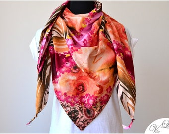 XXL TRIANGLE SCARF with pattern mix flower zebra shades of orange pink brown have extra large shawl spring summer fall trend high-street