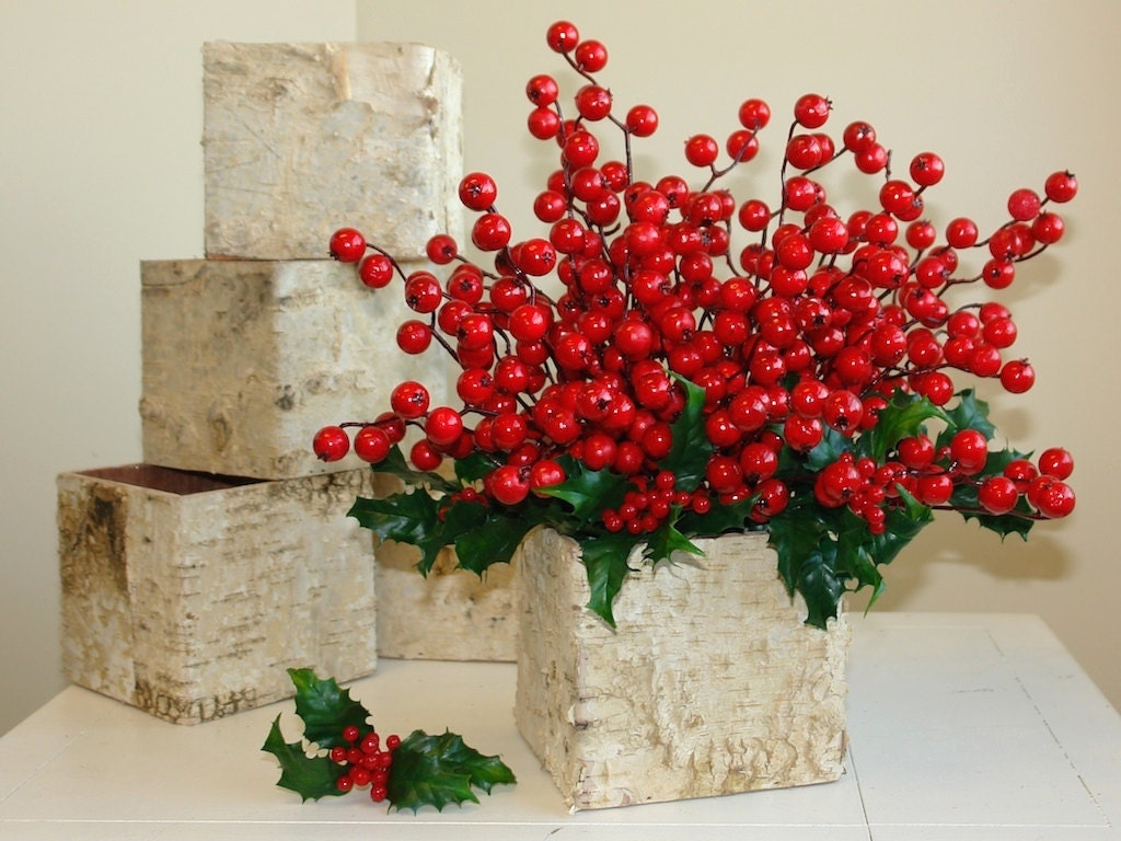 Christmas centerpiece birch bark vases wood boxes square zoom reviewsmspy