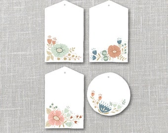 Flower Bunches Tags Printable Instant Download PDF