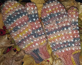 Crocheted Thrummed Mittens