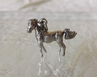 """Sterling Silver 925 Horse Pendant Charm 1"""" VGC"""