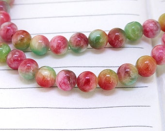 """One strand Round Multicolor Jade Beads ----- 6mm ----- about 60Pieces ----- gemstone beads--- 15.5"""" in length"""