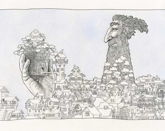 Montague's Garden.  A whimsical, intricate, black and white drawing, watercolor painting, original art print