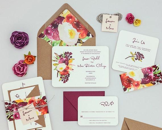 Fall Color Wedding Invitations: Rustic Modern Floral Wedding Invitations Autumn Wedding