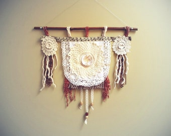 Vintage Doily Wall Hanging Cream Lace Rust Fringe Tribal Style Rustic Art Home Decor Southwestern Aztec