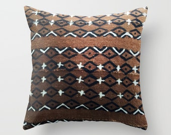 Authentic Mudcloth Pillow Cover, Burnt Umber, Burnt Sienna, Black, White, Diamond, Plus Sign, Cross, Arrow, Dots