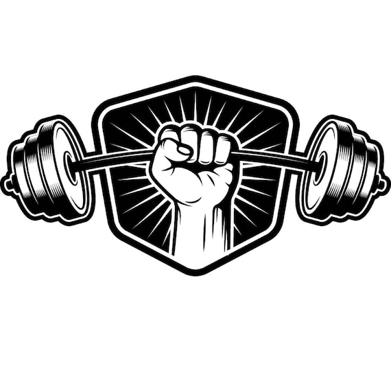 Bodybuilding Logo 5 Shield Barbell Bar Weightlifting Fitness