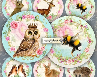 Real Animals - 2.5 inch circles - set of 12 - digital collage sheet - pocket mirrors, tags, scrapbooking, cupcake toppers