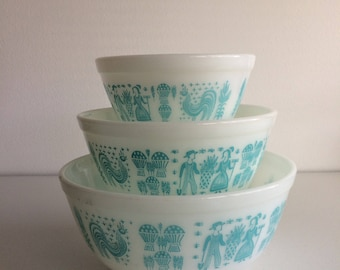 Vintage Pyrex Amish Butterprint Mixing Bowls #401 #402 #403 Set of 3