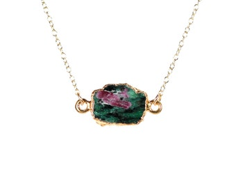 Ruby zoisite necklace - ruby necklace - anyolite necklace - zoisite necklace - a gold lined ruby zoisite on a 14k gold vermeil chain