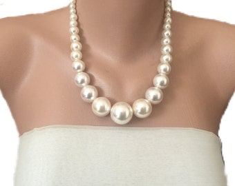 Clothing Gift, Necklace And Earrings Set, Wedding Necklace, Ivory Pearl Necklace,