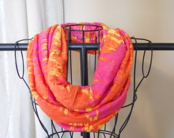 Fabric Infinity Scarf Sunset Pink Orange Yellow Jersey