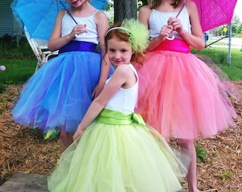 Frou Frou Tutu Set - Sewn Tulle Tutu Skirt - with satin sash and fluff headband - perfect for parties, flower girls, photography props