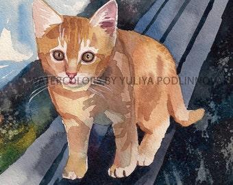 Tabby Orange Kitten Red Ginger Cat Instant Download Print of my Original Watercolor Painting Printable Image Digital Picture Artwork