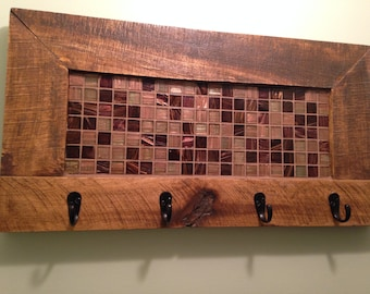 Coat rack, towel rack, key hook, Mosaic, key rack, Rustic Coat Hook