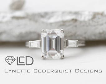 The Margaret 2.25 carat Emerald Cut Forever One Moissanite 2 tapered baguettes  Classic 3 stone Engagement Ring