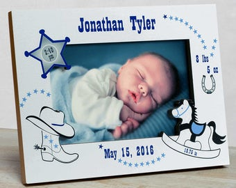 Personalized  Baby Picture Frame,  Baby Boy Picture Frame, Baby Boy Birth Frame, Newborn Boy Frame,New Baby Boy Frame, Western Baby Frame