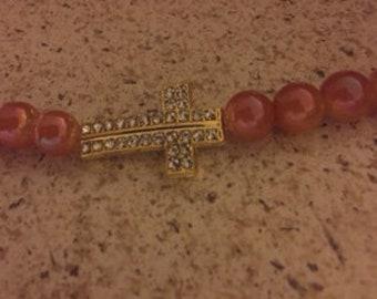 Dawn Orange Galaxy Glass Bead Gold Cross Bracelet