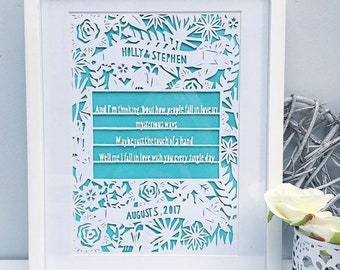 Framed Wedding papercut, Unique wedding gift, first dance gift, wedding gift, wedding song gift, wedding song frame