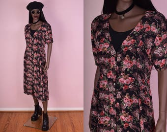 90s Floral Print Button Down Dress/ Medium/ 1990s/ Flowy