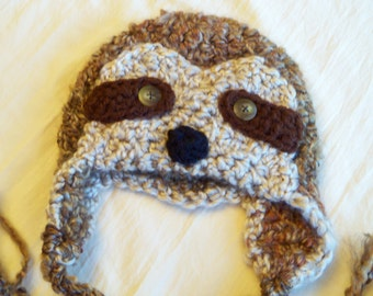 Sloth Hat - Baby Sloth Hat - Simon the Sloth - Baby Hats - Newborn to Adult Sizes - Soft Ear flap hat - by JoJosBootique