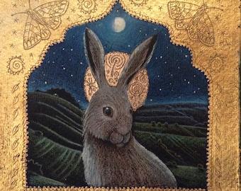 Ancestor Moon Giclee print. Hare icon. Hare in landscape. rabbit print