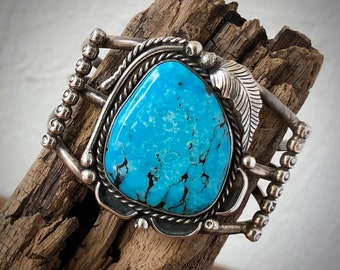 Turquoise and Sterling Silver Cuff Bracelet, Vintage Native American