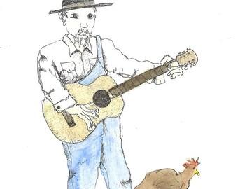 """Original Folk Art: (8"""" x 10"""") Musician with Guitar and Chicken"""