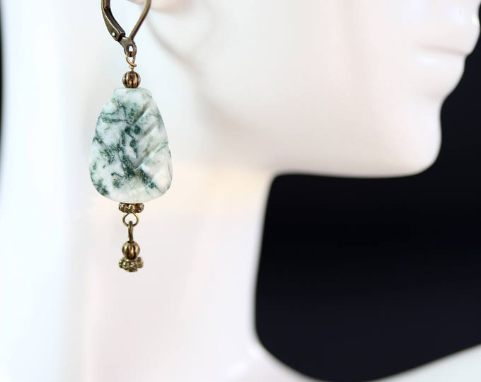 Green and White Rustic Gemstone Moss Agate Leaf Dangle Earrings, Moss Agate Earrings, Carved Agate Gemstone Leaf Earrings
