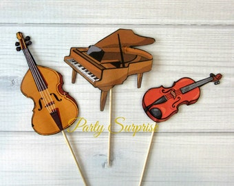 Music Cupcake Toppers Cello Bass Piano Violin Cupcake Toppers Handmade Music Recital Orchestra Instrument Cupcake Toppers