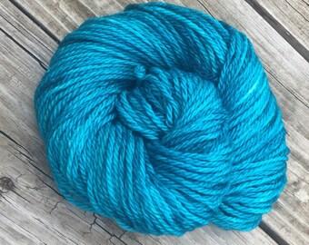 Hand Dyed Bulky Yarn Mermaid's Curse Turquoise yarn 100% superwash merino wool 106 yards blue green teal bulky weight yarn chunky yarn swm