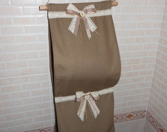 Toilet paper holder in fabric (handmade, with wooden decorations)