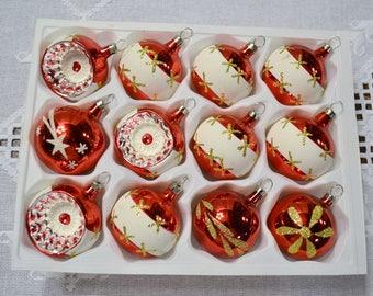Vintage Glass Ball Christmas Tree Ornament Boxed Set of 12 Christmas By Santas World Ornate Red White Czechoslovakia Panchosporch