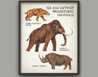 Ice Age Extinct Prehistoric Animals Watercolor Art Print, Boys Room Decor, Woolly Mammoth, Woolly Rhino, Saber Tooth Tiger Wall Art Print