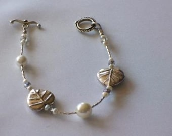Delicate Silver and Pearl Leaf Bracelet