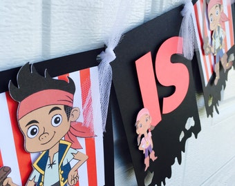 Jake and the neverland name banner , jake and the neverland birthday banner, jake banner