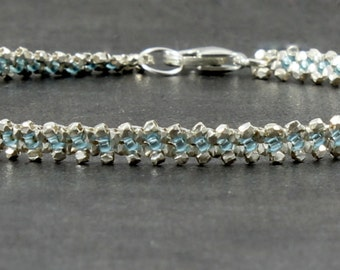 Silver Aqua Anklet - Chain Ankle Bracelet - Beadwork Jewelry - Wedding Bridesmaid Gifts - Karen Hill Tribe Silver Beaded Anklet