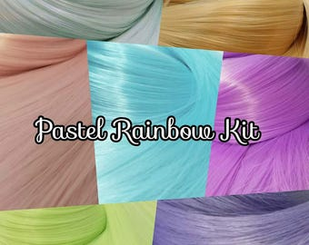 Pastel Rainbow Nylon Doll Hair Kit 7 Hanks Pink Purple Blue Yellow Green Aqua Colours Doll or Pony Reroot Kit DIY Custom OOAK Fashion Doll