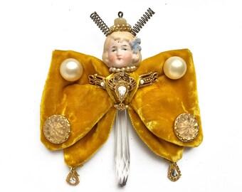 vintage bow tie butterfly doll ornament handmade original art assemblage fairy mixed media art by Elizabeth Rosen