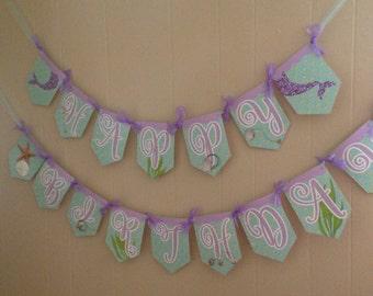 Mermaid Banner, Mermaid Happy Birthday Banner, Mermaid Party, Mermaid Birthday, Mermaid Bunting, Under the Sea Banner, Lavender