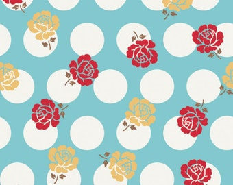 """ON SALE! Riley Blake Designs """"So Cherry"""" Floral & Dots in Blue 24"""" Remnant"""