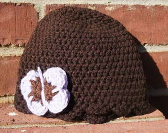 Ruffle Hat with Butterfly 6-12 months