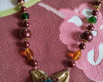Upcycled Vintage Elements:  Brown & Green BAKELITE PENDANT Beaded Necklace