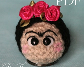 Elfin Thread - Frida Keyring PDF Pattern (Keychain Amigurumi crochet pattern)