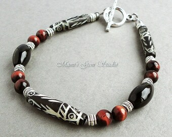 Men's Tribal Bracelet with Carved Bone, Black Onyx, and Red Tiger Eye - Tribal Jewelry for Men, Guys, Him, Dad