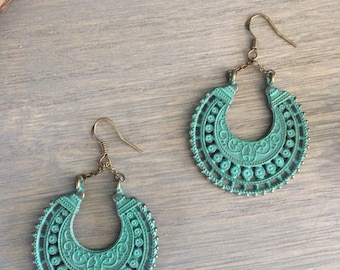 Ethnic inspired earrings hoop