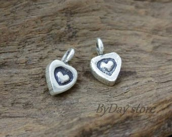 Tiny Heart Silver Charm-Hearts Printed Charms-Cute Heart Charm-approx:6x6mm-4 pcs.